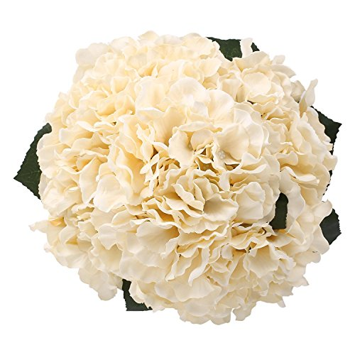 Hydrangea Silk Flowers Champagne 5 Heads SOLEDI Artificial Flower Arrangements Bunch Bridal Bouquet Wedding Bouquet for Home Garden Party Decoration Home Decor