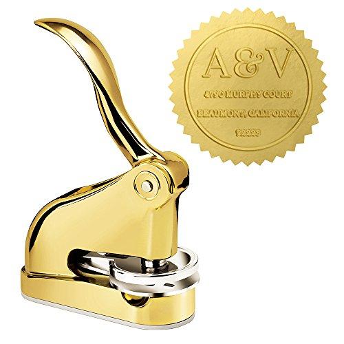 Luxury Gold Embosser - Initials Circle Border Desk Embosser by 904Custom