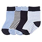 Luvable Friends Basic Crew Socks, Dark Blue, 12-24