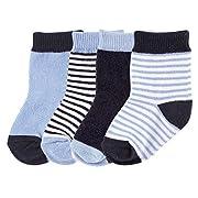 Luvable Friends Basic Crew Socks, Dark Blue, 0-6 Months
