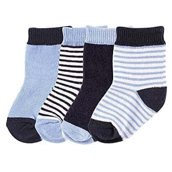 Luvable Friends 4-Pack Basic Socks, Dark Blue, 6-12 Months