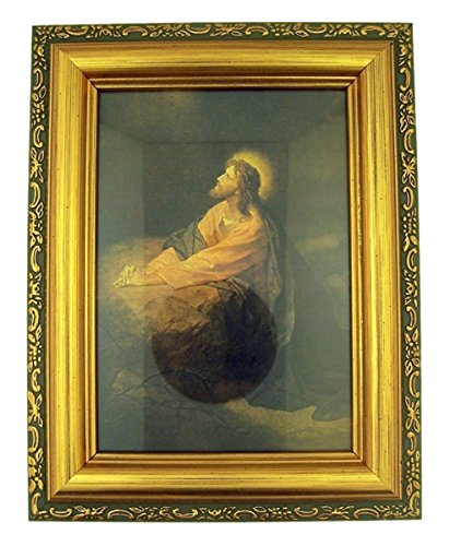 - Italian Lithograph Gethsemane Print in Antique Gold Tone Frame with Glass, 6 1/2 Inch