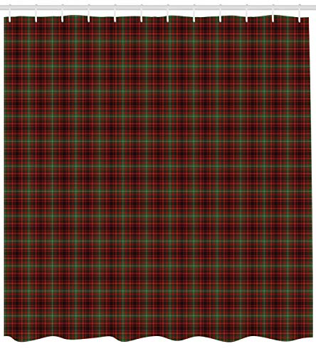 Ambesonne Plaid Shower Curtain, Classic Composition of Squares Tartan Pattern Scottish Style Illustration, Cloth Fabric Bathroom Decor Set with Hooks, 70 Inches, Vermilion Green Black