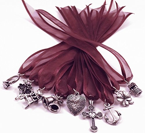 (9) Pewter Cake Pull Charms Brides - Weddings - Burgundy Ribbon