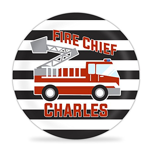 Fire Truck Personalized Plate - Black Stripe Red Firetruck Melamine Plate (Truck Plate Personalized Fire)
