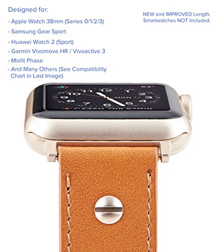 0mm Genuine Leather Band for Apple Watch 38mm, Misfit Vapor, Samsung Gear Sport - Quick Release Strap Wristband (Vintage Cognac Brown/Champagne Gold Buckle) ()
