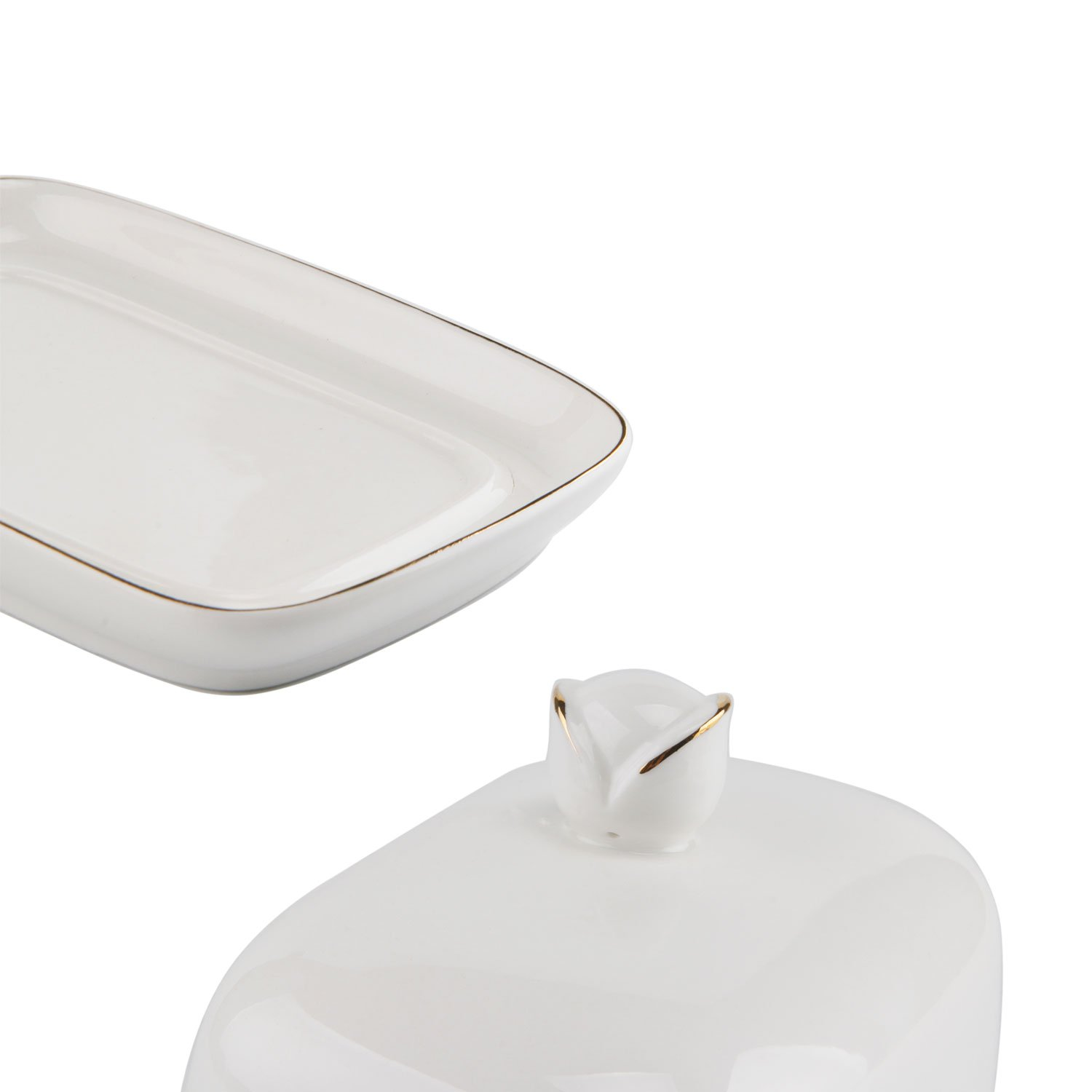 Porcelain Butter Dish with Lid Cover Set of 2 White Ceramic Butter Dish Keeper with Bud Handle Rectangle Golden Edge