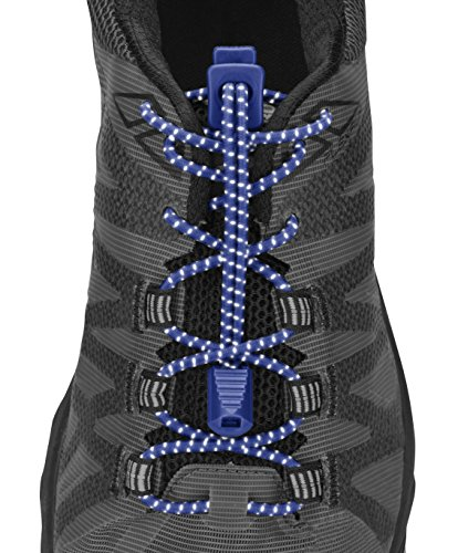 Nathan NS1171 Reflective Run Laces, Surf The Web Blue, One Size - Reflective Web