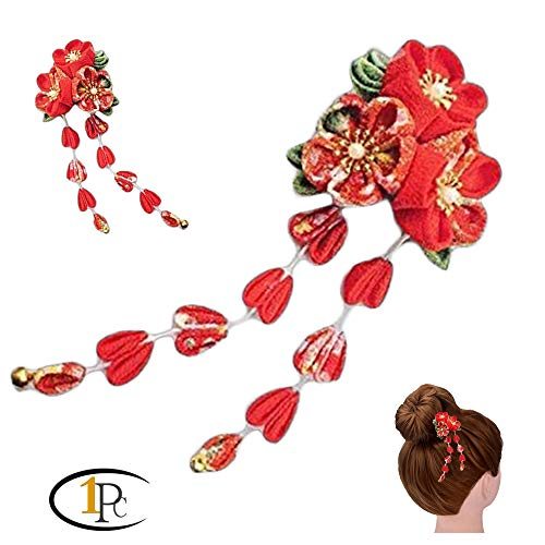 FINGER LOVE Womens Girls Japanese Hair Pin Decor Kanzashi Hair Sticks Picks Kimono Hanfu Accessories Japanese Flower Hair Tie Band Clip (G)