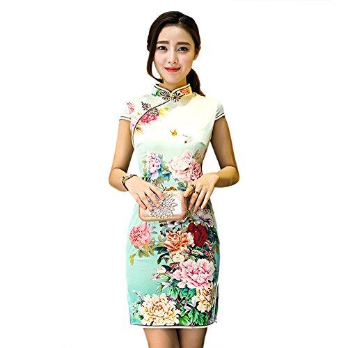 oriental flower print dress - 6