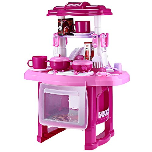 AutoLover Kids Kitchen Toy, Kitchen Playset Simulation Kitchen Cookware Pretend Role Play Toy with Music Light ¡­