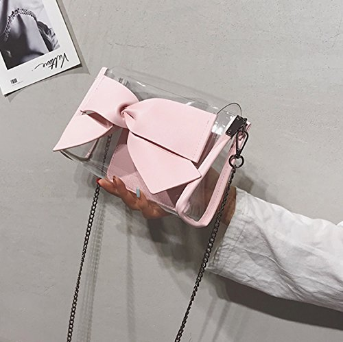 Shoulder Satchel Summer Bag Pink Lady Lovely Single Pink Square Chain Transparent Bag Small Olici tzqPOfSwcv