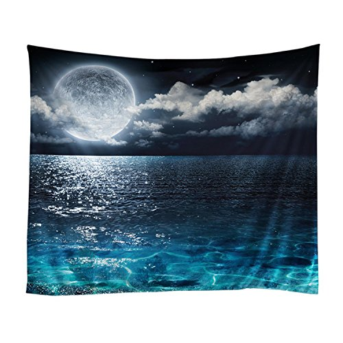 Large Tapestry Wall Hanging - Night Sky Tapestry Ocean Moon Tapestry Wall Hanging Navy Blue Wall Blanket Bedding Tapestries Wall Art Home Decor Wall Decor Living Room Bedroom Dorm Room 79x59 Inch