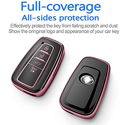 Tukellen for Toyota Key Fob Cover,Special Soft TPU Key Case Cover Protector Compatible with 2020-2020 Toyota RAV4 Camry Avalon C-HR Prius Corolla(only for Keyless go)-Rose Gold: Automotive