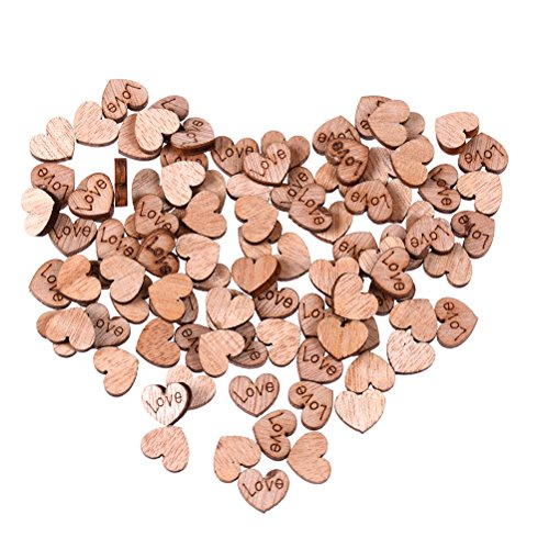 CoscosX 800 Pcs Rustic Wooden Love Heart Wedding Parties Ornaments Banquets Table Scatter Decoration,Wooden Embellishments Slices DIY Buttons Crafts,Wood Art Craft Pieces,Children's DIY Manual (Heart Button Embellishment)