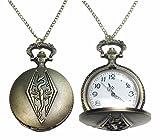 Elder Scrolls Skyrim Dragon Bronze Finish Pendant Pocket Watch