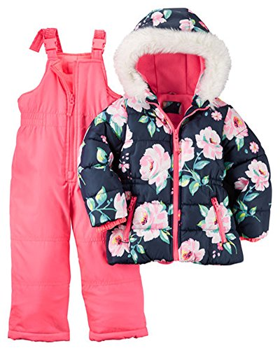 Carter's Little Girls' Toddler 2 Piece Heavyweight Printed Snowsuit, Pink, 2T (Joker Suit For Sale)