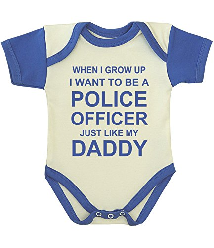 BabyPrem Baby When I Grow Up Want to be a Police Officer Bodysuit ROYAL - Christmas Working Police On Officers