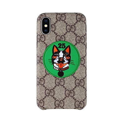 iPhoneX Case, Luxury Elegant Designer PU Leather Brown Monogram Green Dog Case for iPhoneX