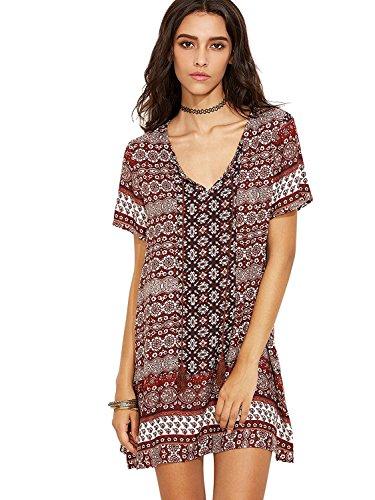 Milumia Women's Sexy V Neck Bohemian Print Loose Shift Dress Burgundy L