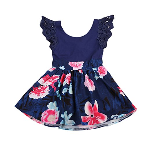 Emmababy Family Matching Clothes Mother and Daughter Flower Dress Girls Sleeveless Outfits (Daughter 3~4T, Blue)