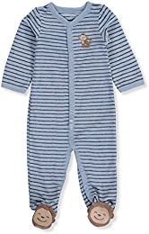 Baby Boys One Piece Striped Monkey Sleep   Play