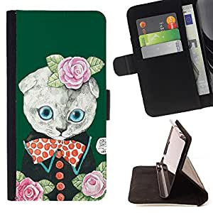 - Cat Cartoon Cute - - Monedero PU titular de la tarjeta de cr?dito de cuero cubierta de la caja de la bolsa FOR Sony Xperia Z1 Compact D5503 Retro Candy