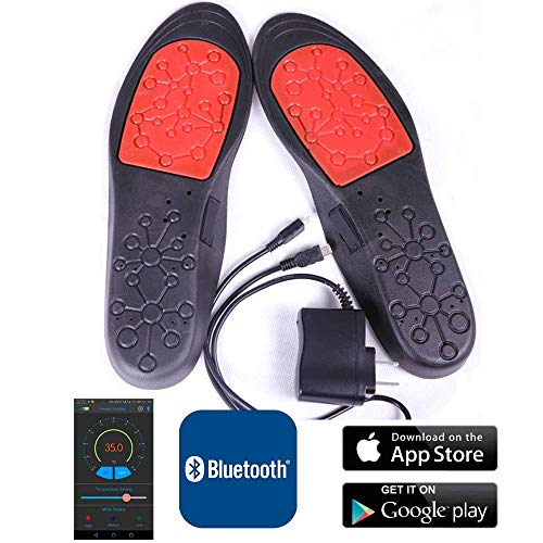 CAMKOO Warm Series Heated Insoles, Rechargeable Bluetooth App Control,Non-Slip Insoles Cut-to-fit Multiple Size for Men 40