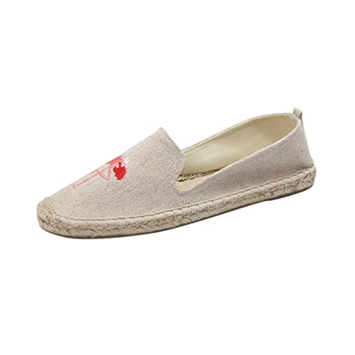 Jitong Alpargatas Planas para Mujer Punta Cerrada Clásicas Zapatillas con Bordado Slip-on Mocasines Casuales: Amazon.es: Zapatos y complementos
