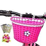 Girl's Bike Basket, Front Handlebar Kid's Bicycle Basket with 3 Pcs Alphabet Flower Animal Stickers, 36 Pcs Bike Wheel Spokes for Kids Chirlden Gift DIY Sets - Flower