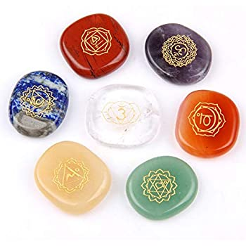 Chakra Stones-Reiki Healing Crystal With Engraved Chakra Symbols Holistic Balancing Polished Palm Stones Set of 7