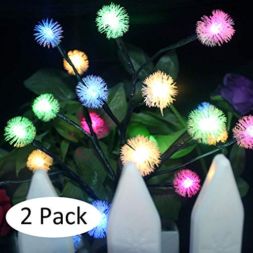 Solar Powered Tree Light Colorful Light Garden Outdoor Yard Lawn seenlast Landscape Lamp Perfect for Home Festival Party Wedding Christmas Indoor Outdoor Decoration 2 Set (Snowflake) (Small Tree That Looks Like A Weeping Willow)
