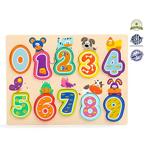 TOP BRIGHT Wooden Number Puzzle Toddler Puzzles for 1 Year Old Classic Educational Toys Learning Numbers