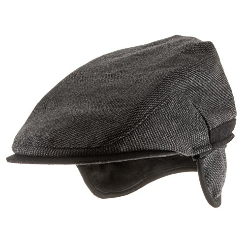 Ultrafino Scottish Wool Ivy Herringbone Newsboy Scally Driving Cap with Fleece Ear Flaps DARK GREY 7 5/8