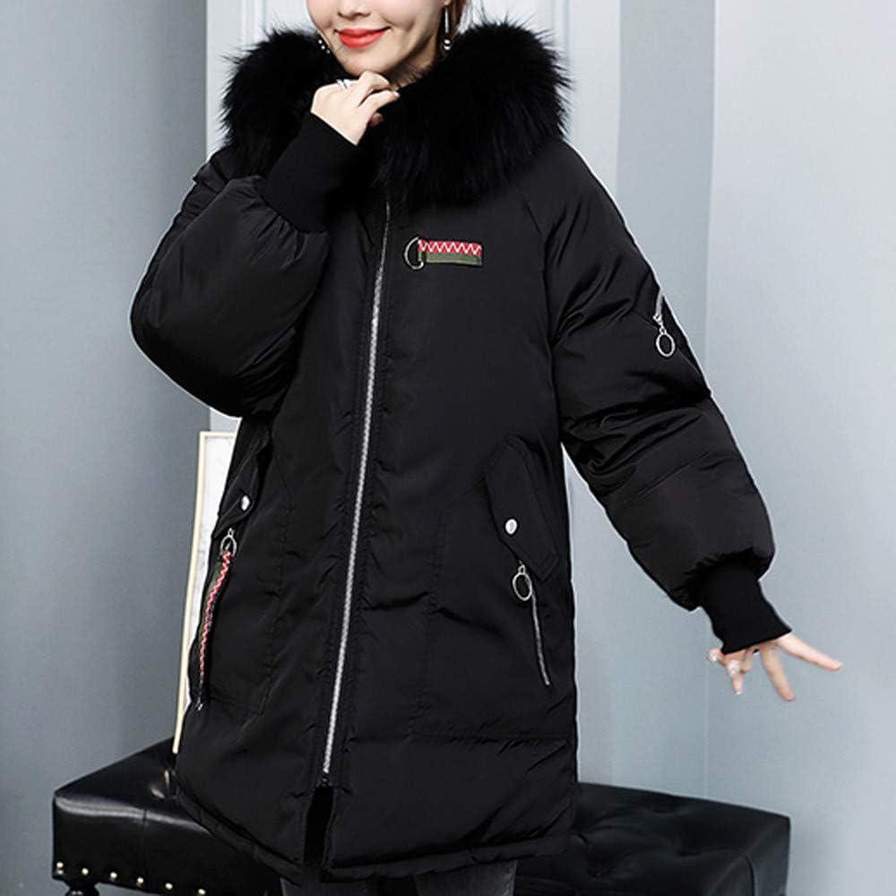 Dream Room Women Winter Hooded Parkas Coat Warm Faux Fur Thicken Slim Jacket Long Overcoat