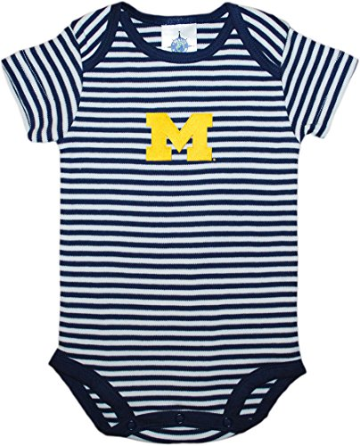 University of Michigan Wolverines Block M Striped Newborn Baby Bodysuit Navy 3-6 Months (Michigan Striped Shirt)