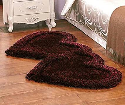 P Home Decor Premium Heavy Super Soft Silky Shaggy Anti Skid Heart Shape Bedside Runner Carpet Mat for Bedroom Living Room Floor Home Decoration, Brown