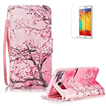 Samsung Galaxy Note 5 Case Cover [with Free Screen Protector], Funyye Elegant Premium Folio 3D Patterns PU Leather Wallet Magnetic Flip Cover with [Wrist Strap] and [Credit Card Holder Slots] Color Painted Pattern Design Stand Case Cover for Apple Samsung Galaxy Note 5 -Pink Cherry Tree