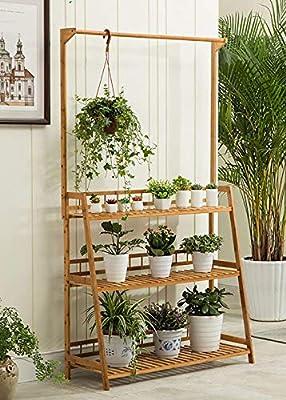 chishizhenxiang Soporte Floral de Madera Clara Planta de Bandeja Interior/ Exterior/Taburete de Escalera 3F / Macetas/Soporte de exhibición de Flores de Plantas (Exhibición de Flores) (Color: 100 cm): Amazon.es: Hogar