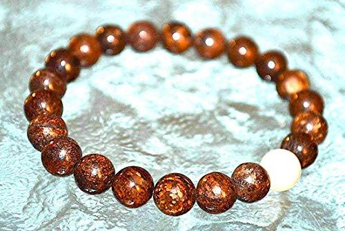(Bronzite mens bracelet women pearl bracelet Masculine Energy Sacral Chakra - Helps Overwhelmed & powerless Psychic Protection Relationships Sexuality Intimacy increases Vitality libido - US Seller)