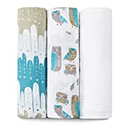aden + anais Organic Swaddle Baby Blanket, 100% Cotton Muslin Made from GOTS Certified Organic Cotton Thread, Large 47 X 47 inch, 3 Pack Wise Guys