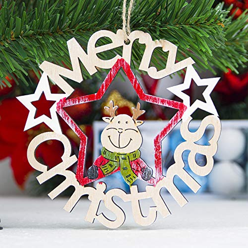 ERT Christmas Tree Decorations,Wood Slice DIY Hanging Ornament for Holiday Xmas Tree Deacorations,The Door Decor(3 Pack Letter