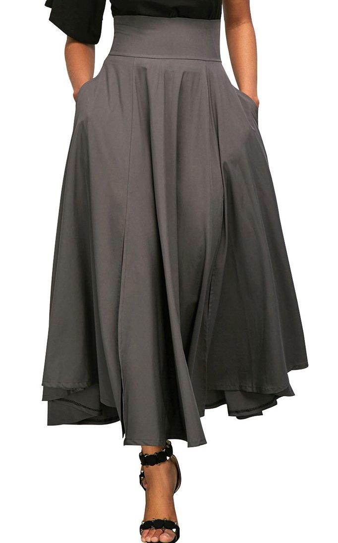 Vanbuy Women's High Waist Pleated Long Skirt Front Slit Belted Midi Skirt with Pockets Z73-65053-Grey-L
