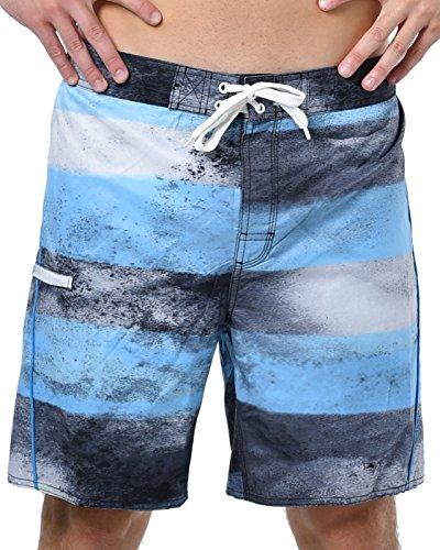 US Apparel Men's Dissolve Stripe Board Shorts, Cyan, XL (Short Waist Stripe)