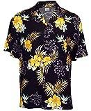Two Palms Mens Fern Hibiscus Rayon Shirt Black 4X