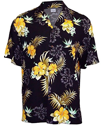 Two Palms Mens Fern Hibiscus Rayon Shirt Black 4X by Two Palms