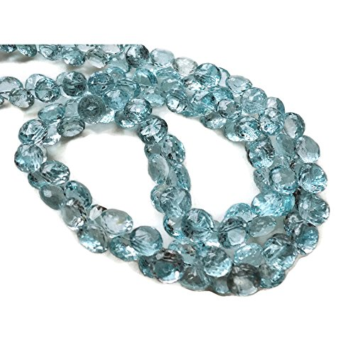 (9 Inch Half Strand, 60 Pcs Approx, Swiss Blue Topaz Onion Faceted Briolette Beads, 7-8mm Each,)