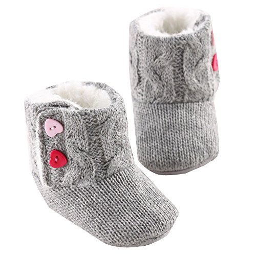 - Snow Boots, Baby Girls Winter Soft Sole Crib Button Flats Cotton Boot Toddler Prewalker Shoes (3~6Months, gray)