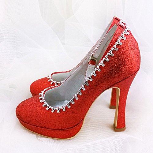 Kevin Fashion gymz647Ladies Almond Toe Stiletto Heel Satin cadena hebilla plataforma boda novia zapatos Red