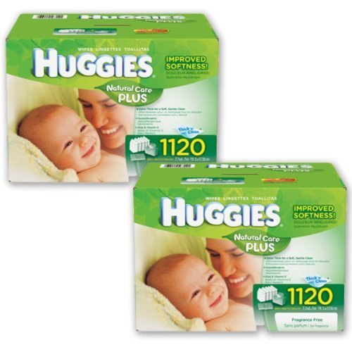 2 Cases Huggies Natural Care Plus Baby Wipes w/ Tubs & Travel Packs 1120 Count by Huggies